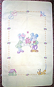 Disney Cross Stitch Mickey And Minnie Baby Quilt Kit