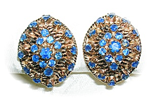 Earrings 14k Gold 4ct Each Sapphire Clip Antique
