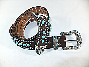 Belt Nocona Black Suede Leather Turquoise Stones Silver