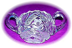 Heavy Cut Crystal Double Handled Sugar Bowl