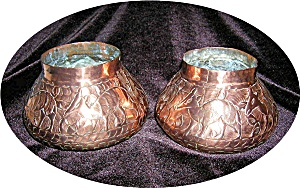 Antique English Hand Hammered Copper Vases