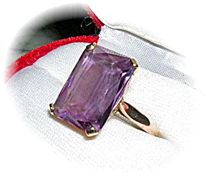 Rintg 14k Gold Very Large Square Amethyst