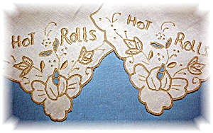 Pair Of Hot Rolls Linens Embroidery