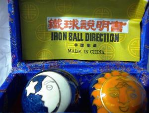 Chinese Relaxation Iron Ball/blue Silk Box