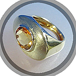 Ring 14k Gold And 2 Ct Golden Citrine Italy