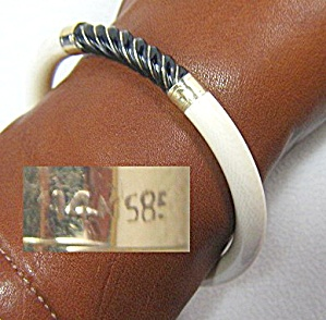 14k Gold Bone Ivory Onyx Bangle Bracelet