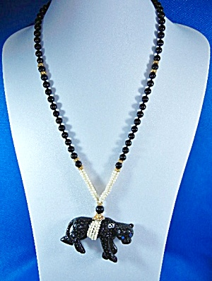 Gold Ivory Bone Onyx Panther Necklace