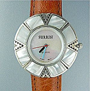 Surrisi Sterlng Silver Mother Pearl Wristwatch