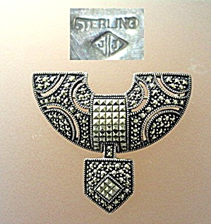 Sterling Silver Antique Marquisite Brooch Marked Jj