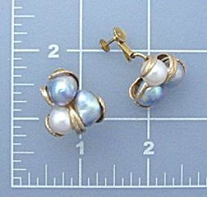 Earrings 14k Gold Baroque Genuine Pearl Clip