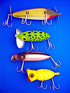 Fishing Lures Lot Of 4 Creek Chub, Heddon, Arbogast