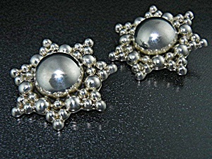 Taxco Mexico Sterling Silver Clip Earrings Ts-74