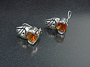 John Atencio 18k Gold Sterling Silver Citrine Earrings