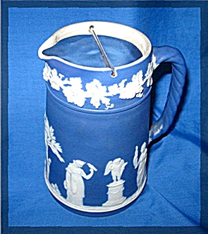 Wedgewood Trojan Jug, Cream Color Figures On Royal Blue