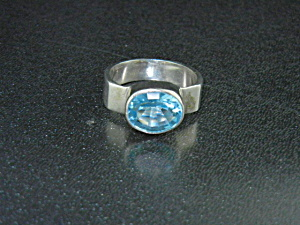 Sterling Silver Blue Topaz Ring 4ct