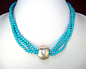 Turquoise 3 Strand Sterling Silver Center Bead Necklace