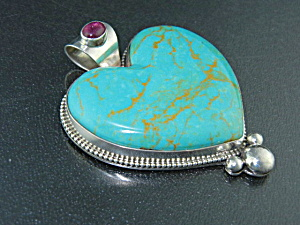 David Troutman Kingman Turquoise Sterling Silver Heart
