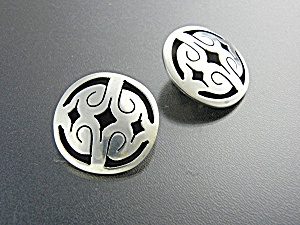 Earrings Sterling Silver Taxco Mexico Tc-269 Clips
