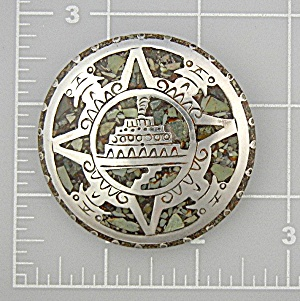 Brooch Pin Sterling Silver Mexico Crushed Stone Inlay
