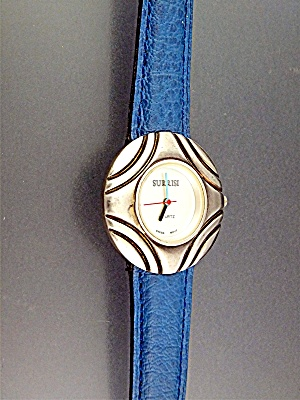 Surrisi Sterling Silver Blue Leather Band Wristwatch