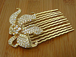 Hair Comb Crystals Goldtone Flower