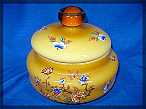 Candy Jar Amber Color Glass With Flowers