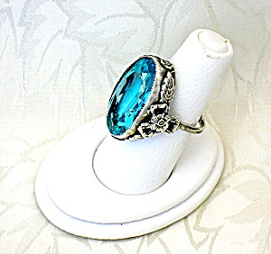 Sterling Silver Aqua Blue Green Glass Art Deco Ring