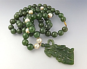Jade Dark Green Pearls Jade Pendant 14k Gold