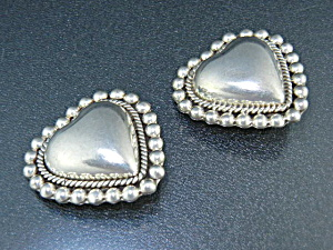 Taxco Mexico Sterling Silver Heart Clip Earrings Tc 171