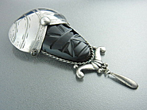 Silver Mexico Onyx Aztec Face Brooch