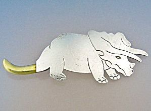 Taxco Mexico Sterling Silver Prehistoric Animal Brooch
