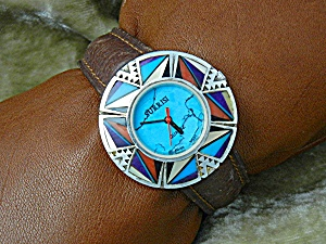 Wristwatch Sterling Silver Turquoise Inlay Surrisi