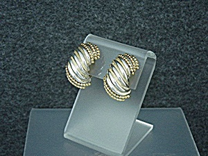 Dian Malouf 14k Gold Sterling Silver Clip Earrings