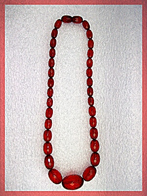 Necklace Cherry Amber Faceted Graduated ........