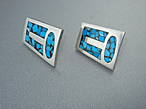 Mexico Silver Turquoise Chip Inlay Pierced Earrings