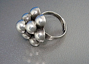 Taxco Mexico Silver Ball Ring Sterling Silver Adjustabl