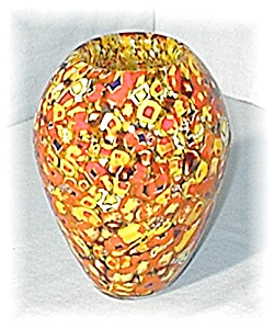 Murano Glass Vase Gold Red