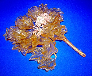 Glass Amber And Green Flower Decoration