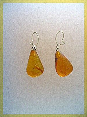 Antique Gold Wire Teardrop Amber Pierced Earrings