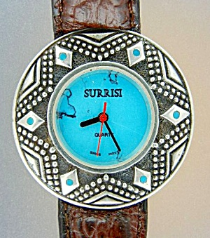 Wristwatch Surrisi Sterling Silver Turquoise Leather Ba