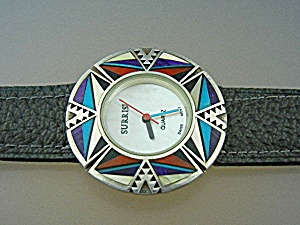 Surrisi Sterling Silver Coral Onyx Turquoise Watch