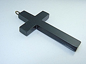 Bakelite Cross Pendant 2 7/8 Inches Black
