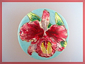 Brooch Enamel Pink Gold Blue Orchid Pin