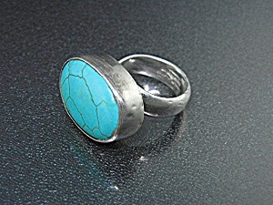 Charles Albert Sterling Silver And Turquoise Ring