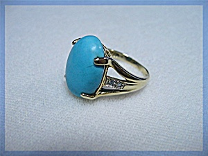 Ring 14k Yellow Gold Persian Turquoise Diamond
