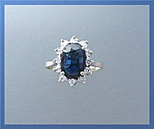 Ring 14k Yellow Gold Sapphire Diamond