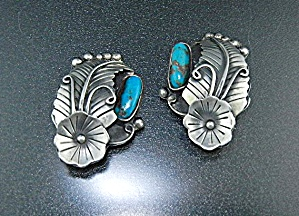 Taxco Mexico Sterling Silver Turquoise Clip Earrings Ci