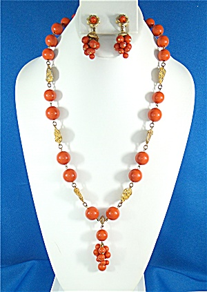 Necklace Earrings Coral Gold Lucite Vintage