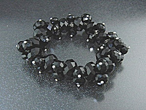 French Black Jet Beads Expanda Bracelet