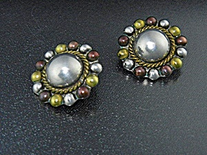 Taxco Mexico Sterling Silver Copper Brass Clip Earrings